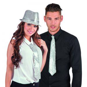 glitter zilveren stropdas