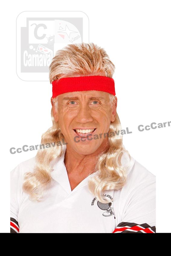 haarband rood met blond haar