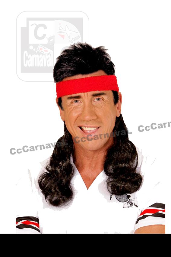 haarband rood met bruin haar